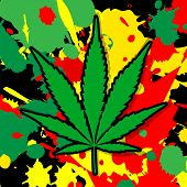 picture of marijuana leaf  - illustration of a marijuana leaf very colorful - JPG
