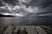 image of sea-scape  - Fjord landscape of dramatic sky and sea - JPG