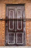 Locked Brown Door In Morocco