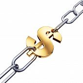 Gold dollar in chains