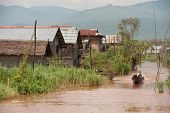 Floating House and transportation In Inle Lake,Myanmar.