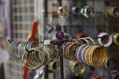 pic of bangles  - multicolor bangles arranged and displayed in the waiting customers. ** Note: Shallow depth of field - JPG