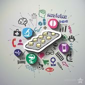 Medicine collage with icons background