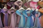 Pastel shawls taken in a market stall in Italy