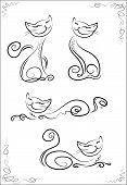 Set smiling black cats with a long tail, vector illustration