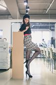 Beautiful Young Brunette Posing In An Office