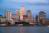 LONDON, UK - OCTOBER 17, 2014: Canary Wharf business and banking district night lights
