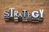 strategy  word in mixed vintage metal type printing blocks over grunge wood