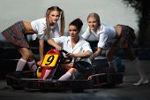 Girls play in Karting
