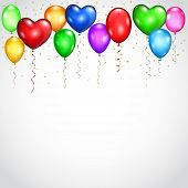 Background With Colored Balloons And Serpentines