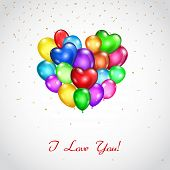 Background With Bunch Of Colored Balloons Heart-shaped