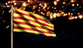 Catalonia National Flag City Light Night Bokeh Background 3D