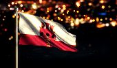 Gibraltar National Flag City Light Night Bokeh Background 3D
