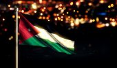 Jordan National Flag City Light Night Bokeh Background 3D