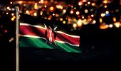 Kenya National Flag City Light Night Bokeh Background 3D