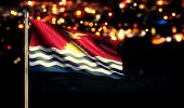 Kiribati National Flag City Light Night Bokeh Background 3D