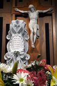 foto of unity candle  - wedding unity candle with a crucifix in a church - JPG