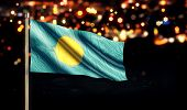 Palau National Flag City Light Night Bokeh Background 3D