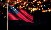 Samoa National Flag City Light Night Bokeh Background 3D