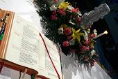 pic of unity candle  - unity candle and bible at a church in chicago illinois - JPG