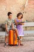 portrait of two children on vacation, outdoor