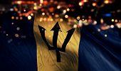 Barbados National Flag Light Night Bokeh Abstract Background