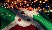 Burundi National Flag Light Night Bokeh Abstract Background