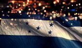 Honduras National Flag Light Night Bokeh Abstract Background