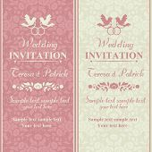 picture of ring-dove  - Antique baroque wedding invitation - JPG