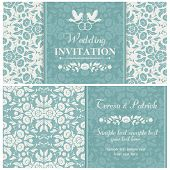 stock photo of ring-dove  - Antique baroque wedding invitation - JPG