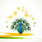 foto of indian independence day  - Beautiful Indian national bird peacock with butterflies in tricolour for Indian Republic Day and Independence Day celebration - JPG