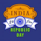 Indian Republic Day celebration poster with stylish text and ashoka wheel in national flag colors on blue background.