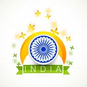 stock photo of indian independence day  - Indian Republic and Independence Day celebration concept with ashoka wheel - JPG