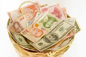 stock photo of ringgit  - A basket of different currencies - JPG