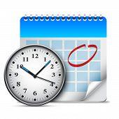 Calendar and clock.