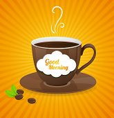Vector white coffee cup and text cloud.