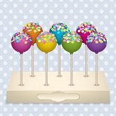 image of cake pop  - Tasty delicacy Cake Pops on a stand Vector Illustrations Set - JPG