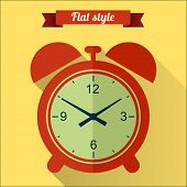 Red Alarm Clock Flat Icon With Long Shadow