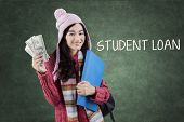 Schoolgirl With Warm Clothes And Money