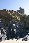 Old Historic Castle On A Cliff Edge