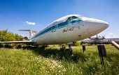 Old Russian Aircraft Yak-42 At An Abandoned Aerodrome In Summertime