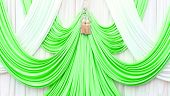 Green And White Curtain On Stage