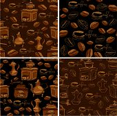 Set Of 4 Seamless Patterns With Handdrawn Coffee Cups, Beans, Grinder, Coffee Pot, Calligraphic Text