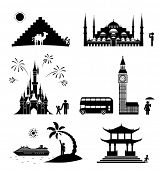 Vector set of famous monuments and travel icons. Travel and tourism icon set.
