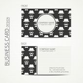Vintage creative simple  business card template with hipster gentleman mustache, hat, glasses. Vecto
