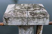 concrete block with deep cracks
