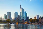 picture of frankfurt am main  - Frankfurt am Maine Germany cityscape at sunset - JPG