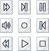 Walkman web icons, white stamp series
