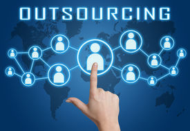 picture of social housing  - Outsourcing concept with hand pressing social icons on blue world map background - JPG