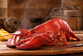 stock photo of claw  - A delicious freshly steamed lobster in the rough.
